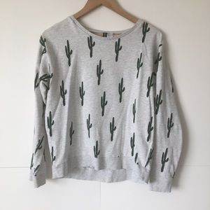 H&M Cactus Print Pullover Crewneck Sweater